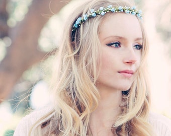 Bridal headband white headpiece Rustic Woodland Crown woodland bridal wreath wedding accessories