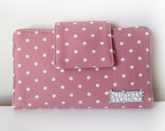 Women's Bifold Wallet Clutch Purse with Zip Pocket and Card Slots in Pink Polka Dot