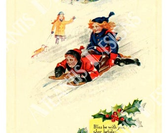 Old Postcard Kids and Sled Fridge Magnet 2 x 3