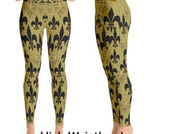 Black and gold fleur de lis leggings from my art