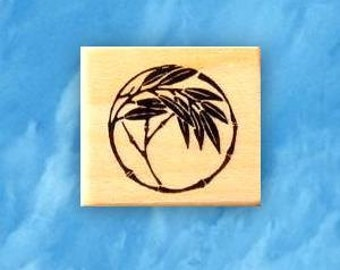 BAMBOO MOTIF mounted rubber stamp, Japanese mon, accent, circle, Sweet Grass Stamps No.12
