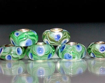 6Green with Blue Eyes Murano Glass Lampwork Beads Fits all Designer and European Charm Bracelets