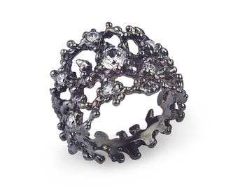 BLACK CORAL Black Silver Ring, Oxidized Sterling Silver Ring, Statement Ring, Sculpture Ring, Black Ring with CZ, Mothers Day Gift