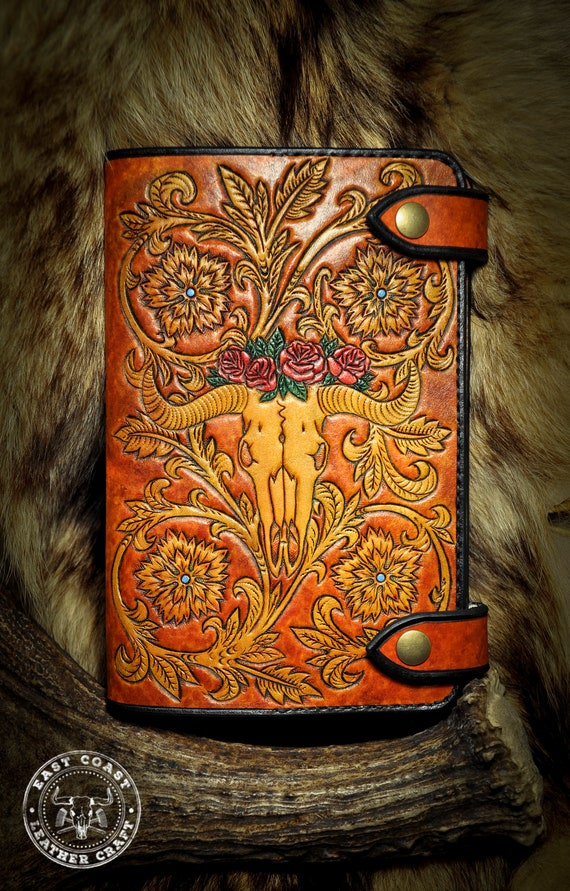 Leather Moleskine Journal Cover - Western Floral Cow Skull Journal