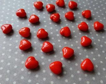 Czech Glass Mini Heart Beads  Pack of 50
