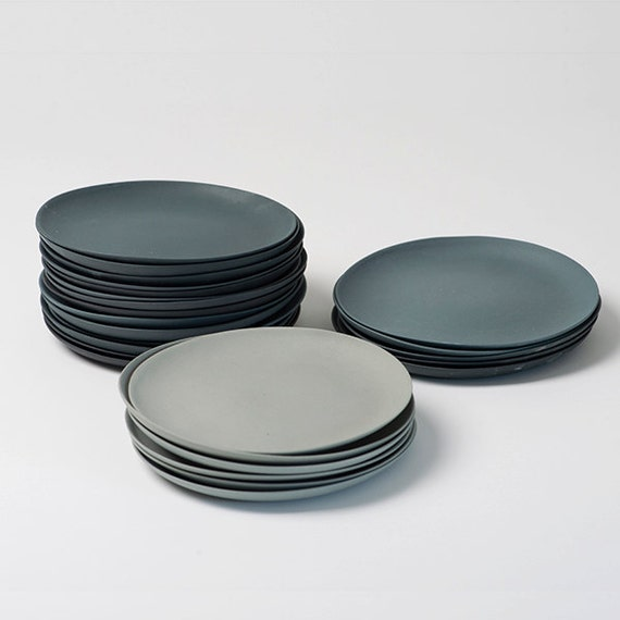 Plates Porcelain Gray Set by Etsy
