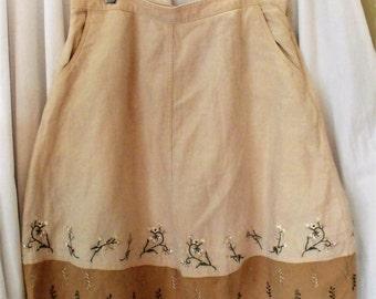 J.Jill Embroidered Skirt/ Linen Cotton Blend Retro M-L Skirt/ Shabbyfab Funwear
