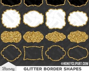 Gold glitter frame clipart, gold glitter border clipart, digital label clip art, glitter banner, bracket frame overlay, white filled frame
