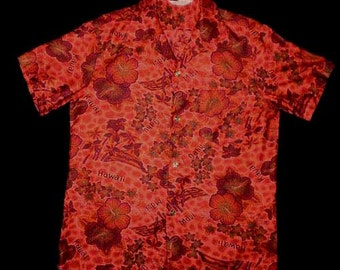 Vintage 60s Aloha Shirt Hawaiian Place Names Hibiscus M
