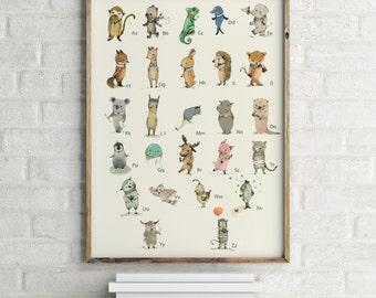 GERMAN - Childrens Wall Art Print -ABC Animals Alphabet  Poster
