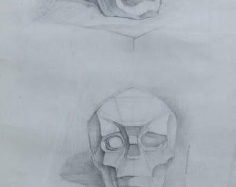 Original Skull Drawing Academical Anatomy  Vintage Pencil  Dark Tone Pictur Gift Human Skull Classical Sculpture