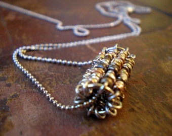 Mixed Metal Tube Bead-Tunnel Vision Necklace-Cylinder Colored Metal Beads-Rustic Necklace-Boho Jewelry-Silver Chain-Valentines Day Gift Wife