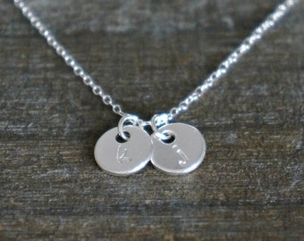 Two Personalized Discs Necklace // Sterling Silver Necklace with 2 Small ( 8mm ) Disk Charms with Initials • Mother's Day Gift for Her