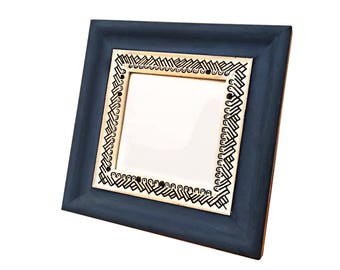Photo Frame blue picture frame, blue, square,