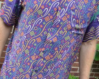 Men's Handmade Sari Silk Short Sleeve Button Down Dress Shirt - Purple Print - Medium - Fletcher  I910