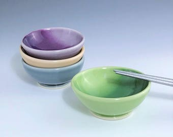Green Sauce Bowl, Porcelain Sauce Bowl, Small Ceramic Bowl, One Green Bowl, Ceramic Ring Holder, Soy Sauce Dish, Wheel Thrown Pottery Bowl