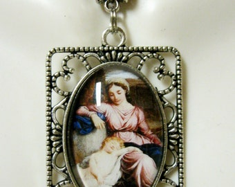 Madonna and child pendant and chain - AP25-072