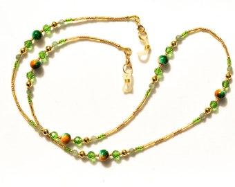 Green Glasses Chain. Sunglasses Holder Chain. Eye Glass Chain. Spectacle Holder Chain. Gemstone & Glass Beaded Neckchain Eyeglass Lanyard