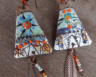 Indian ethnic tribal earrings - glass and enamels