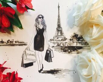 Coco Chanel in Paris, Fashion Illustration, Print from Original Watercolor, Shopping in Paris Illustration, Lana Moes Art, Fashionista Decor