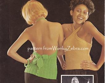knit knitable Halter tops  Vintage Knit Pattern PDF 922 from WonkyZebra