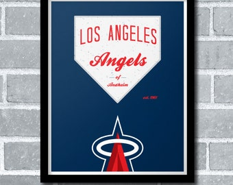 Los Angeles Angels of Anaheim Minimal Baseball Poster