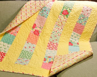 Sweet by Moda  Baby Crib Quilt Girl Blanket 30's Style Fabric  One of a Kind READY TO SHIP