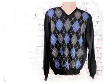 Shetland Wool Argyle Sweater - Hipster Sweater - Preppy Sweater - V neck sweater, pull over sweater -  X Large sweater, # 1
