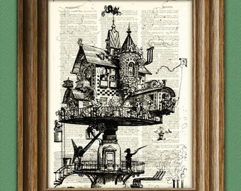Vintage Dictionary Art Print Steampunk aerial house illustration beautifully upcycled dictionary page book art