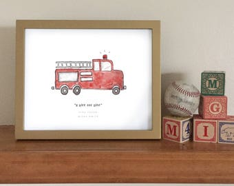 Firetruck Printable - Customized 8x10 Watercolor Firetruck - Commemorative First Words