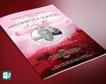 Pink Sky Funeral Program Publisher Template