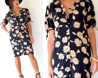 Vintage 80s 90s UNGARO Daisy Print Button Front Oversized Shirt Dress (size small, medium)