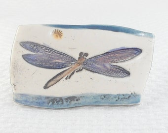 Vintage Artisan Hand Painted Porcelain Dragonfly Pin Brooch Hand Painted Firefly Brooch Bug Pin Insect Jewelry Entomologist Gift