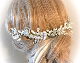 Bridal hair vine,Bridal Headpiece, Flower Headpiece, Crystal and Pearl Wedding Hairpiece, Wedding hair vine, Wreath, Bridal Hair Halo