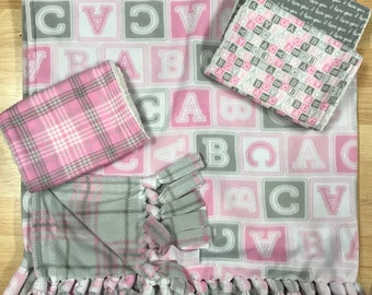 pink and gray ABC baby blanket and burp cloth combo- handmade baby blanket - handmade burp cloths - tie baby blanket - cute blocks baby gift