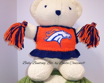 Bear, Denver Broncos Cheerleader Bear, Baby Girl Bear, Baby Shower Gift, Birthday Gift, Keepsake Bear, Souvenir Bear