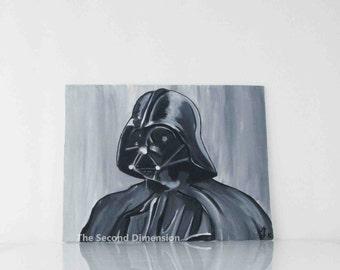 "Star Wars Darth Vader Art Acrylics On Flat Canvas Sci-Fi 9"" x 7"""
