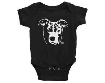 Pit Bull Baby One Piece, Pitbull Baby Shirt, Unique Baby Gift, Dog Baby Announcement, Hipster Baby Clothes, Baby Creeper, Gender Neutral