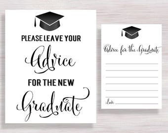 Advice for the Graduate Cards and Sign, Graduation Party Decor, Graduation Advice, Grad Party Decorations, Wishes for the Grad Class of 2018