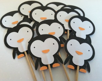 12 Penguin cupcake toppers, christmas food picks,  cupcake toppers