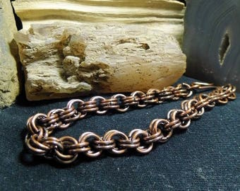 Men's Antique Copper Chain Bracelet size 8  Chain Maille 3 in 2