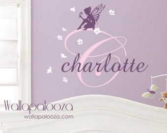 Fairy wall decal - girls wall decal - fairy wall art - fairy wall decor - girls name decal - nursery wall decal - nursery wall art - fairy