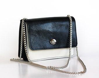 Schwarz und weiß aus Kalbsleder, Leder Messenger Tasche, Silberkette Armband Dalfia Ledertasche Handtasche, Abend- und Alltag