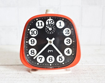 Vintage French JAPY Mechanical Alarm Clock Red || 70's Retro/ Mid Century - Bright Color Pop Clock
