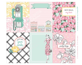 Small Town Feel Journal cards-Digital File Instant Download-Planner Inserts, travelers journal, Project Life, plaid, floral, 1940s, vintage