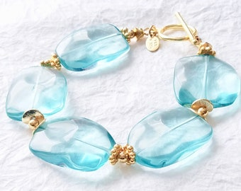 Aqua Blue Quartz Stone and Vermeil Chunky Statement Bracelet, Himalayan blue poppy bracelet