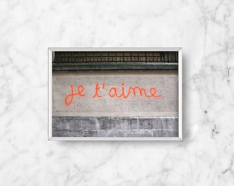 SALE: Romantic Gift, I Love You Card, Je T'aime Photo | Paris Print | French Fine Art Photography | Neon Orange Photo | Living Room Decor