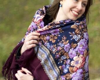 russian shawl wool  babushka etnic folk shawl 49 '' Pavlovo Posad new