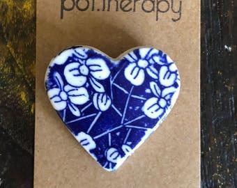 Blue cherry blossom porcelain heart brooch