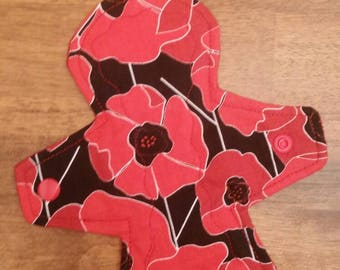 """8"""" Red Poppies Flower cloth pad"""